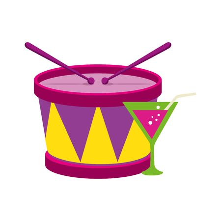 Drum instrument and cocktail design, Music sound melody song musical art and composition theme Vector illustration