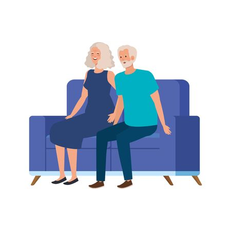 old couple seated in sofa avatar character vector illustration design