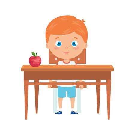 cute little boy with wooden desk vector illustration design