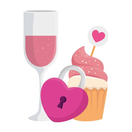 cup champagne with cupcake and padlock vector illustration design