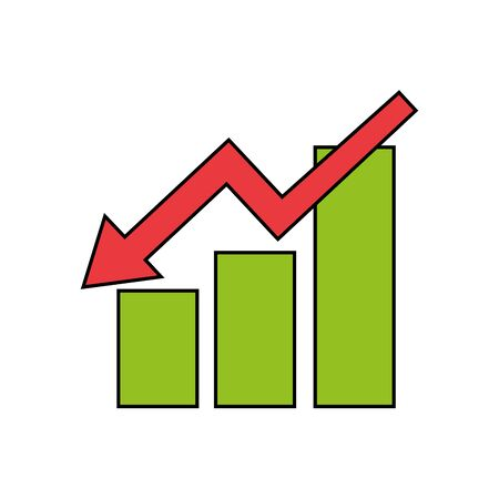 Workflow bars with decrease arrow design, Infographic data information business analytics and visual presentation theme Vector illustration  イラスト・ベクター素材