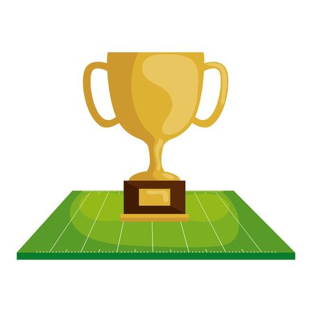 cup trophy in field american football vector illustration design 向量圖像