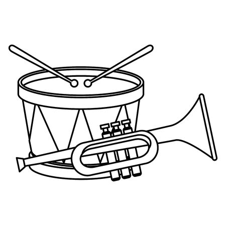Drum and trumpet instrument design, Music sound melody song musical art and composition theme Vector illustration