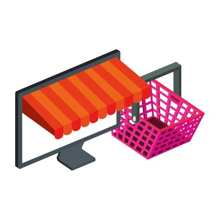 basket shopping and computer with parasol vector illustration design 向量圖像
