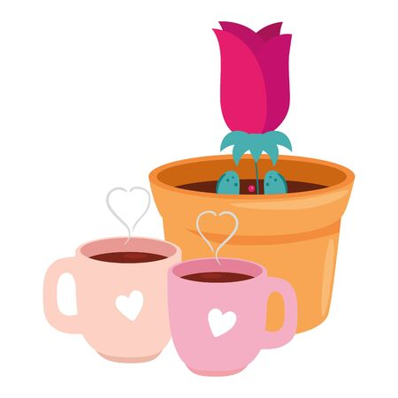 cups coffee with rose flower in pot plant isolated icon vector illustration design Ilustração