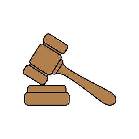 Hammer-Gesetz-Design, Justizgerichtsurteil Justizbehörde Freiheitsurteil Anwalt und Kriminalität Thema Vektor-Illustration
