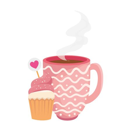 cup coffee with cupcake isolated icon vector illustration design