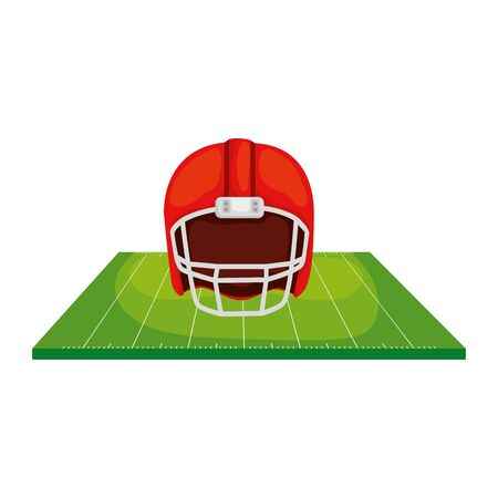 field and american football helmet isolated icon vector illustration design