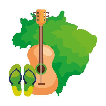 drum and flip flops with map of brazil vector illustration design