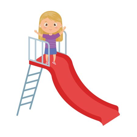 cute little girl in slide game vector illustration design 版權商用圖片 - 138982381
