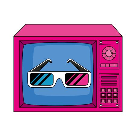tv with glasses of nineties retro style isolated icon vector illustration design 向量圖像