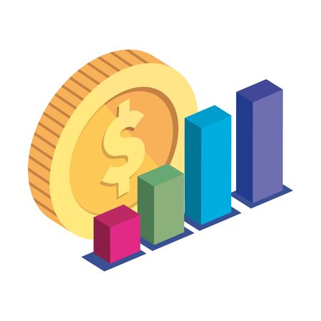 bars statistical with coin isolated icon vector illustration design