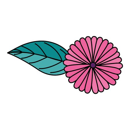 cute flower natural with leaf isolated icon vector illustration design  イラスト・ベクター素材