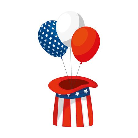 Usa balloons and hat design, United states america independence labor day nation us country and national theme Vector illustration