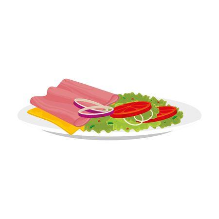 heerlijke plak ham met schotel heerlijk eten geïsoleerd pictogram vectorillustratieontwerp Vector Illustratie