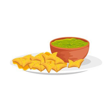 bowl with delicious guacamole with nachos vector illustration design 向量圖像
