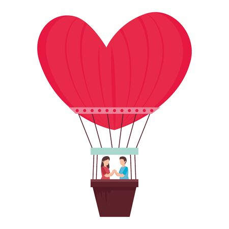 couple in balloons air hot romantic travel vector illustration design Ilustração