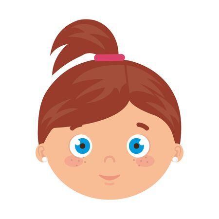 head of girl smiling on white background vector illustration design