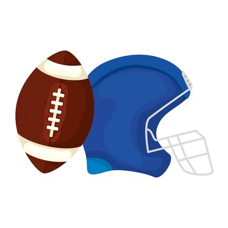 helmet and ball american football isolated icon vector illustration design