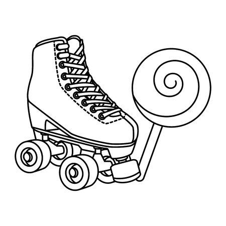 roller skate with lollipop of nineties line style icon vector illustration design Ilustração