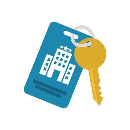 Diseño de icono de llave de hotel de servicio de viajes sala de recepción alojamiento en resort vestíbulo de motel y tema de vacaciones ilustración vectorial Ilustración de vector