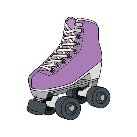 roller skate nineties retro isolated icon vector illustration design