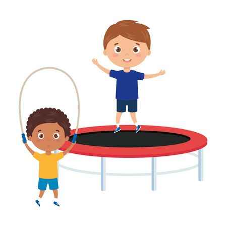 cute little boys with trampoline jump and rope jump vector illustration design