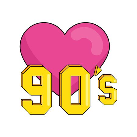 nineties sign with heart retro style isolated icon vector illustration design Иллюстрация