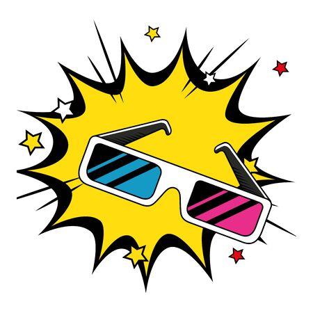 glasses accessory of nineties in explosion pop art vector illustration design 向量圖像