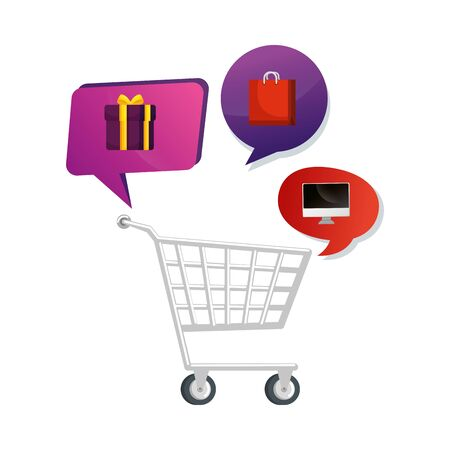 cart shopping with set icons vector illustration design Illustration
