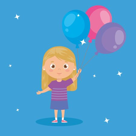 cute little girl with balloons helium vector illustration design