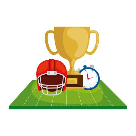 helmet with trophy and chronometer in field american football vector illustration design 向量圖像