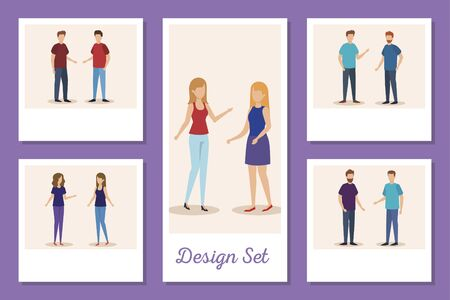 set designs of young people avatar character vector illustration design