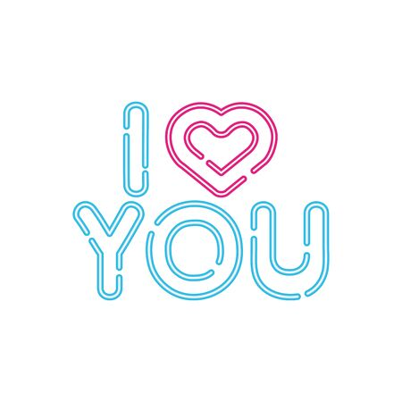 i love you lettering with heart isolated icon vector illustration design