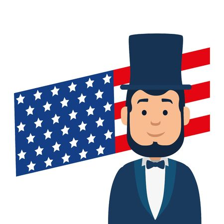 Usa president man and flag design, United states america independence nation us country and national theme Vector illustration  イラスト・ベクター素材