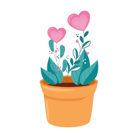 flowers in shape heart in pot plant vector illustration design