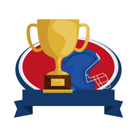 american football helmet and trophy with ribbon isolated icon vector illustration design