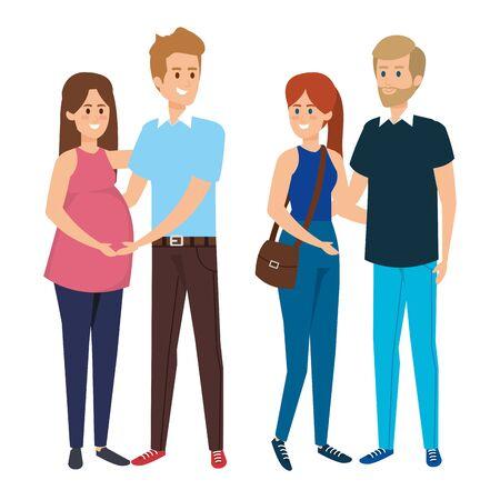 group people with pregnancy woman vector illustration design Zdjęcie Seryjne - 139097221