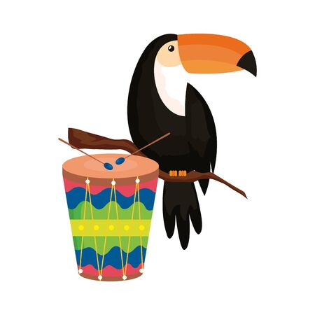 drum with toucan isolated icon vector illustration design  イラスト・ベクター素材