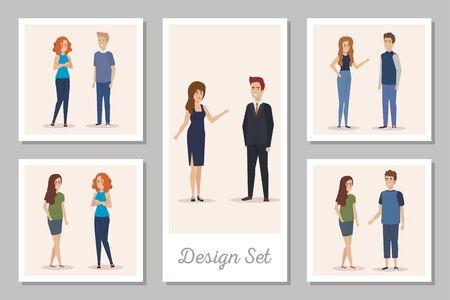 design set of business people avatar character vector illustration design