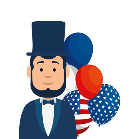 Usa president man and balloons design, United states america independence nation us country and national theme Vector illustration