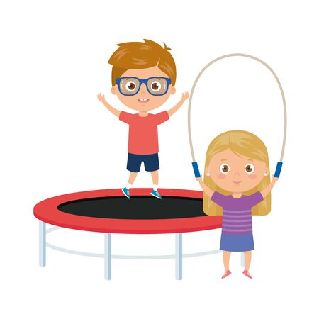 cute little children with trampoline jump and rope jump vector illustration design  イラスト・ベクター素材