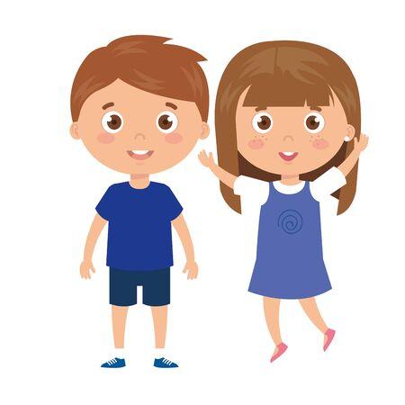 bambini in piedi su sfondo bianco illustrazione vettoriale design