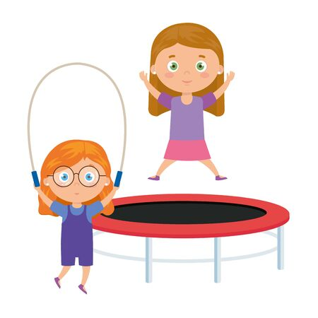 cute little girls with trampoline jump and rope jump vector illustration design