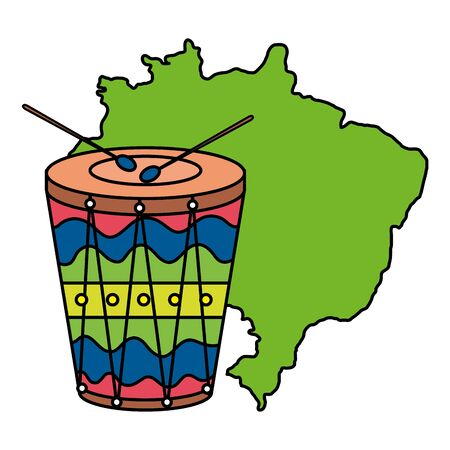 drum instrument musical with map of brazil vector illustration design