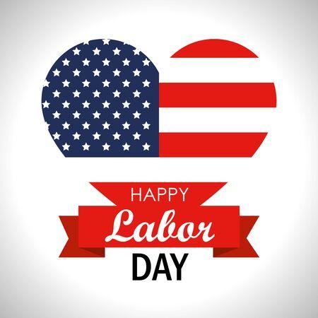 Corazón con la bandera de Estados Unidos para la ilustración de vector del día del trabajo Ilustración de vector