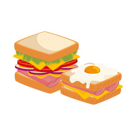 delicious sandwiches with egg fried isolated icon vector illustration design Ilustracje wektorowe