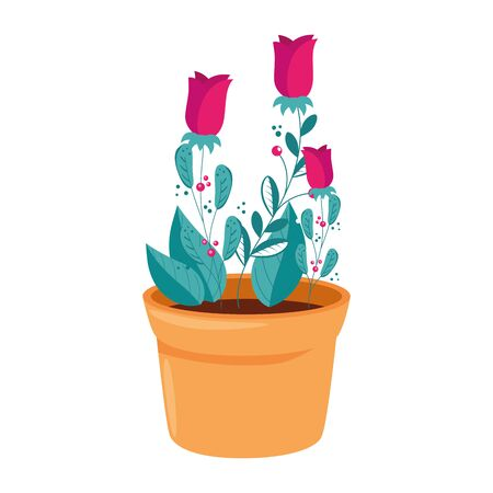 roses flowers in pot plant isolated icon vector illustration design  イラスト・ベクター素材