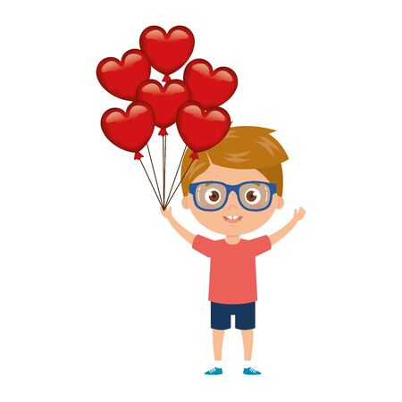 little boy with balloons helium in shape heart vector illustration design
