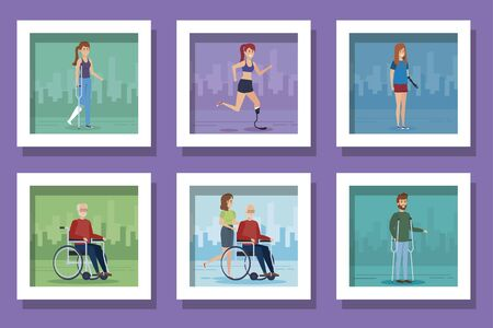 bundle of people disabled scenes vector illustration design